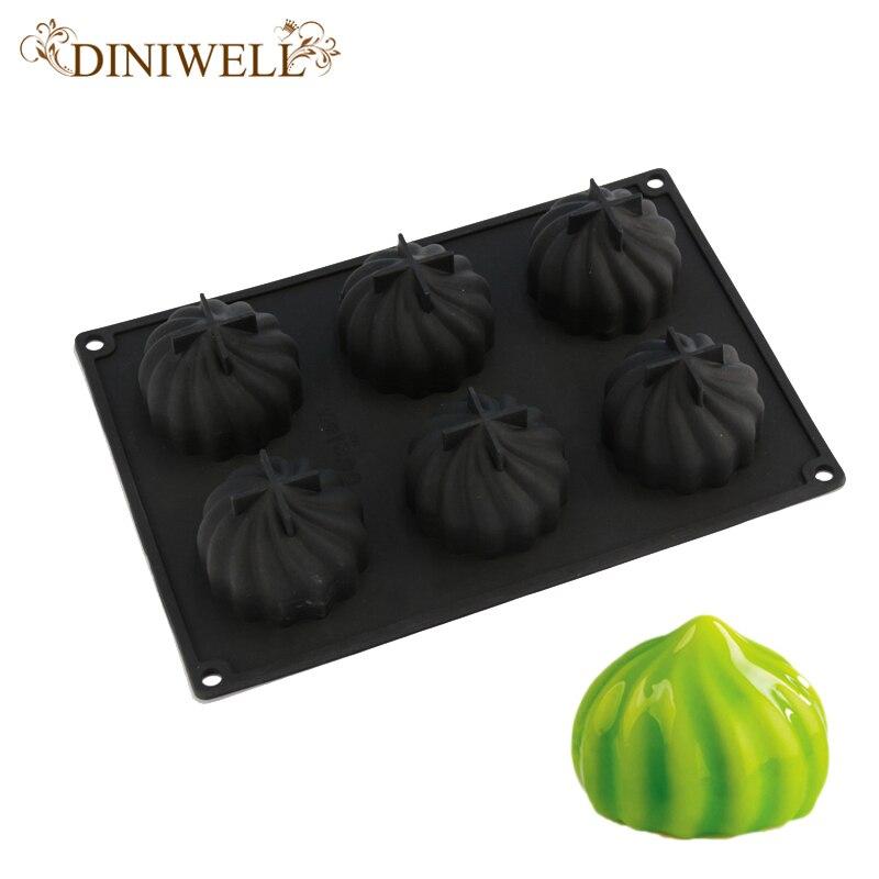 빵 장식 도구에 대 한 6 구멍 나선형 모양의 3D 블랙 실리콘 케이크 굽기 베이킹