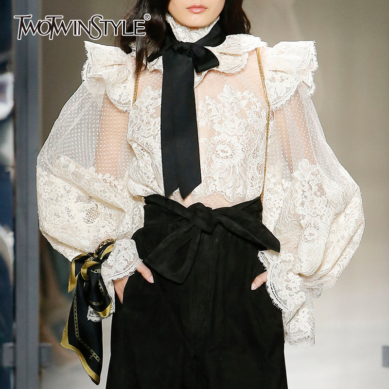 TWOTWINSTYLE Lace Patchwork Shirt For Women Stand Collar Bowknot Lace Up Lantern Sleeve Perspective Sexy Blouse Female 2019 New