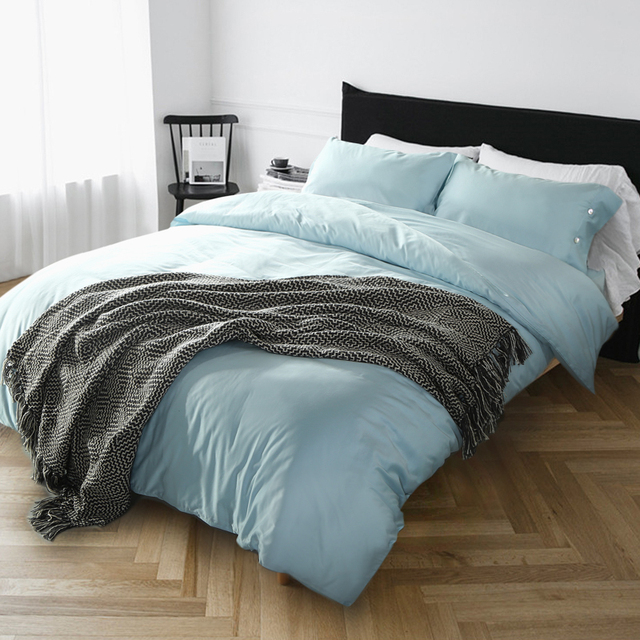 60s Egyptian Pure Cotton Solid Color Bedding Set Light Blue Duvet Cover Europe Bed Sheet