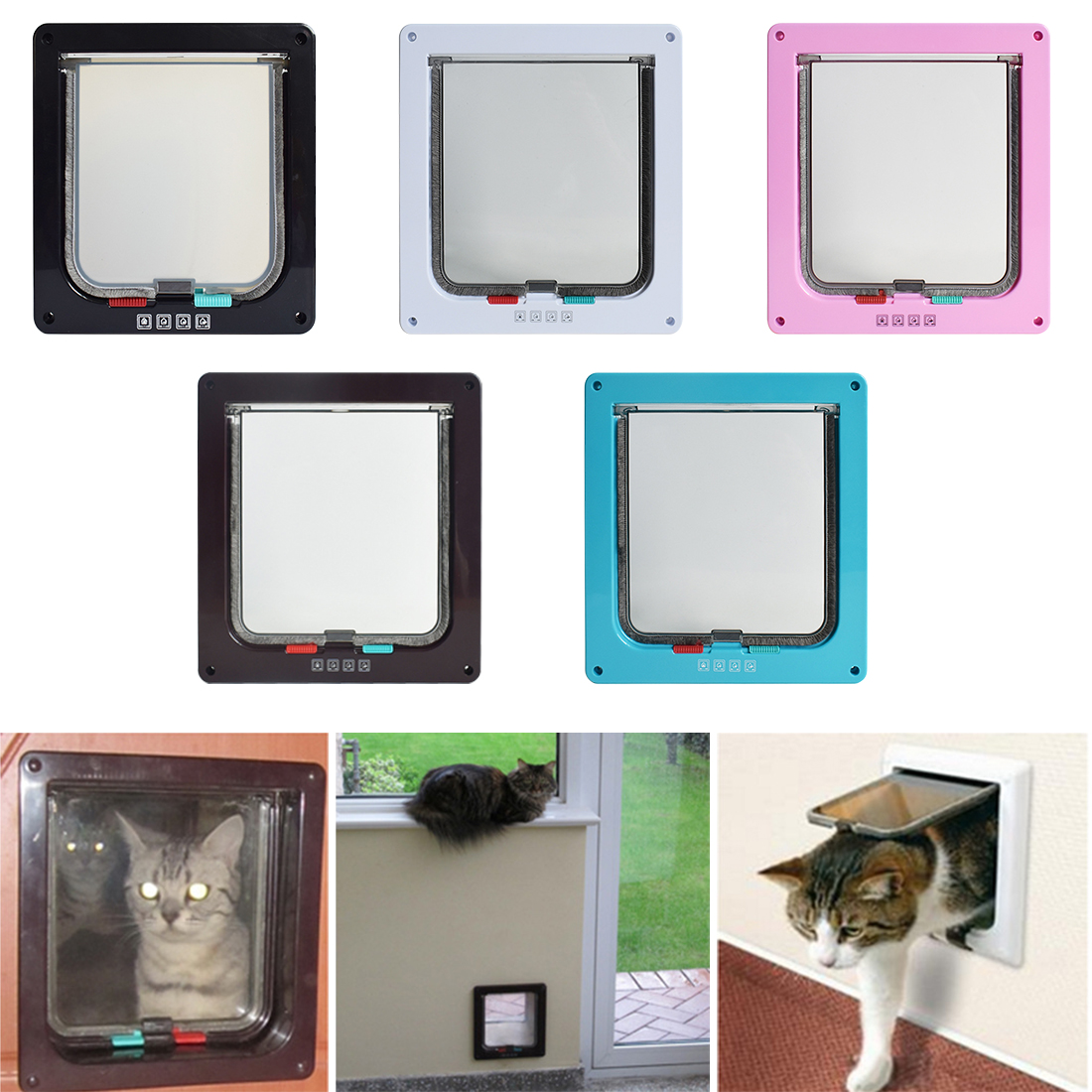5 Colors Intellgent Control 4 Way Safe Cat Gate Doors Abs Animal Small Pet Cat Dog Door Pet Supplies Flap Door Pet Kitten Door
