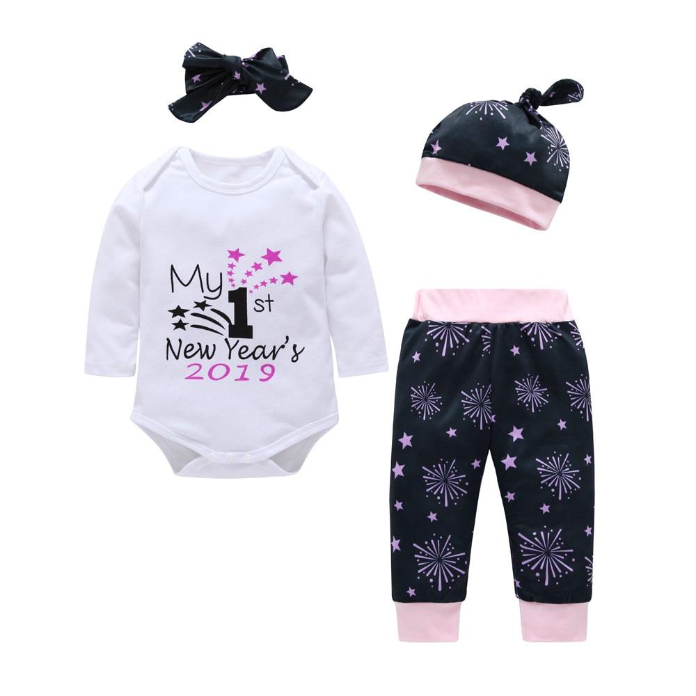 4aaaba7df MUQGEW recién nacido bebé niña carta Casual de manga larga mameluco Tops +  Pantalones sombrero diademas 4 piezas ropa de niñas conjunto en Sistemas de  la ...