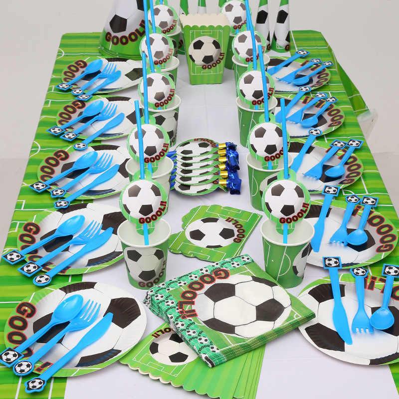 81 шт., футбольные вечерние одноразовые наборы куханной утвари, салфетки под чашки для детей, украшения для дня рождения, Детские принадлежности для душа