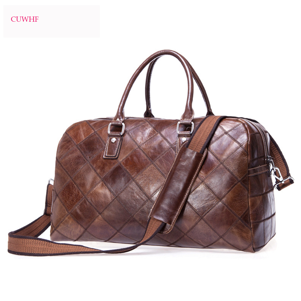 CUWHF New vintage Lingge Men Travel Bags Waterproof Genuine Leather Shoulder Bag For men Large Capacity Weekend Bag Luggage bags