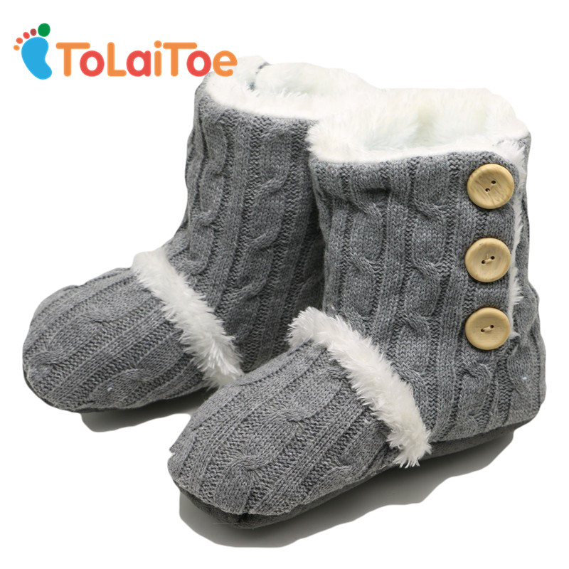 ToLaiToe Adult Button Warm Soft Knitting wool Floor Slippers Non-Slip Plush Home Shoes Slippers Household Indoor Shoes Unisex tolaitoe autumn