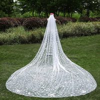 Korean 3 Meters Long Lace Veil Veil Bride Wedding Veil Tail 2017 New Large Petals LACE