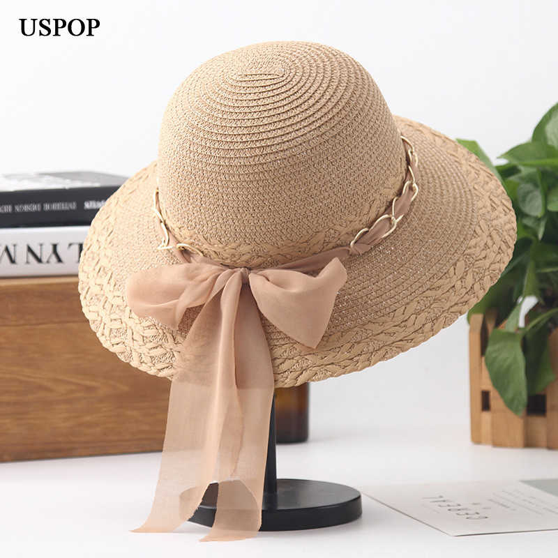 2ac41bf6e45 USPOP 2019 New women summer ribbon big bow-knot straw hat breathable chain  straw sun