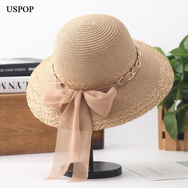 bc40d13e64e USPOP 2019 New women straw sun hat summer soft chiffon ribbon bow-knot  straw hat casual women metal chain wide brim beach hats