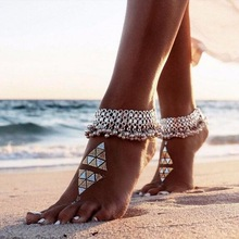 Fashion Sexy Antique Silver Anklet Chain Lots Bell Beads Ankle Bracelet For Women Beach Barefoot Sandal Foot Jewelry charming faux ruby bell anklet for women