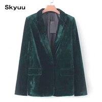 Skyuu Velvet Blazer Women Plus Size 2XL Dark Green Chic Elegant 2019 New Autumn Casual Outwear Female Office Ladies Blazers Tops