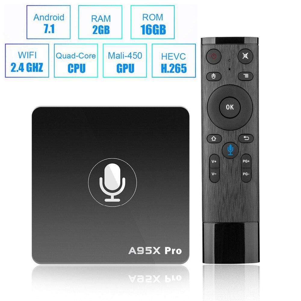 2018 A95X PRO TV Box Android 7.1 Amlogic S905W Quad-core 2GB/16GB WiFi Mini Smart TV Box HD 4K Media Player Tvbox Set-top Box xgody kii pro smart tv box android 5 1 amlogic s905 quad core 2gb ddr3 rom 16gb emmc rom kodi media player 4k tv receiver tvbox