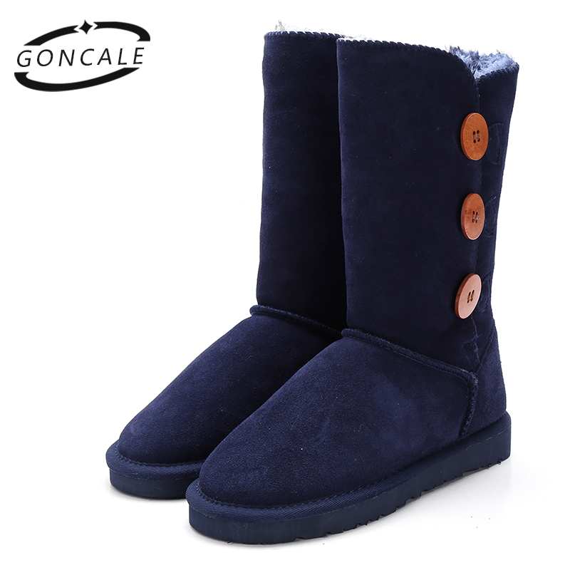 GONCALE Fashion Women winter snow boots genuine leather Black Mid-Calf female winter boots girls shoes for women Big Size:4-13 yub brand waterproof rain boots for women with solid color slip on winter mid calf shoes for girls