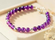 100% Real. 925 Sterling Silver Jewelry 6.5MM Natural Purple Amethyst Stone &Bead Bracelet Charms length 15.5cm  GTLS404