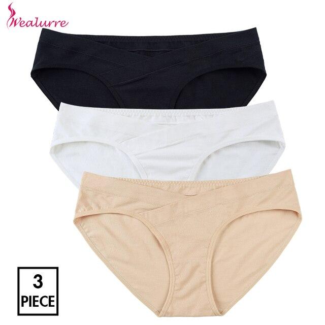 e7f65a06590 Wealurre 3Pcs Cotton U-Shaped Low Rise Women Underwear Maternity Panties  Pregnancy Briefs Plus Size Maternity Underwear Pregnant
