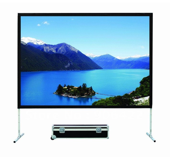 Free shipping 180 inch 16:9 Fast Fold 3D Silver Projection Screen With Aluminum Frame And Mobile Case