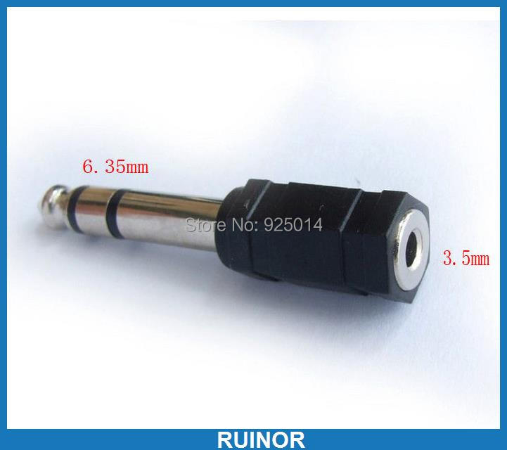 10PCS 6.35mm TO 3.5mm jack Sockets PLUG FOR DJ Headphone headset Power Amplifier