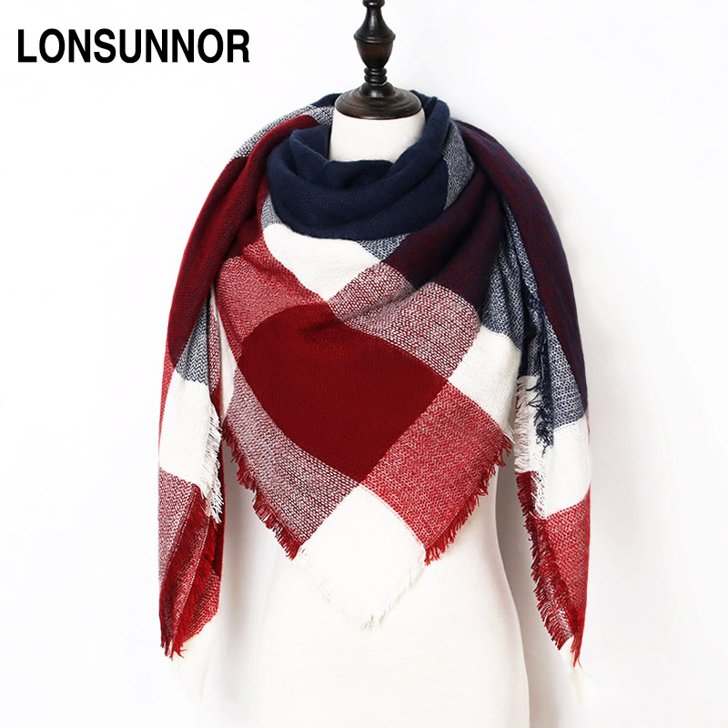 LONSUNNOR Winter Scarf For Women Warm Plaid Ladies Shawls