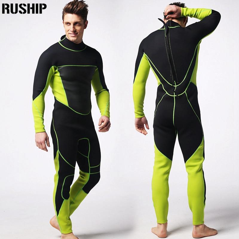 Men 3mm Neoprene diving suits warm keeping patchwork Rash Guards swimwear long sleeve Spearfishing snorkeling one piece Nylon