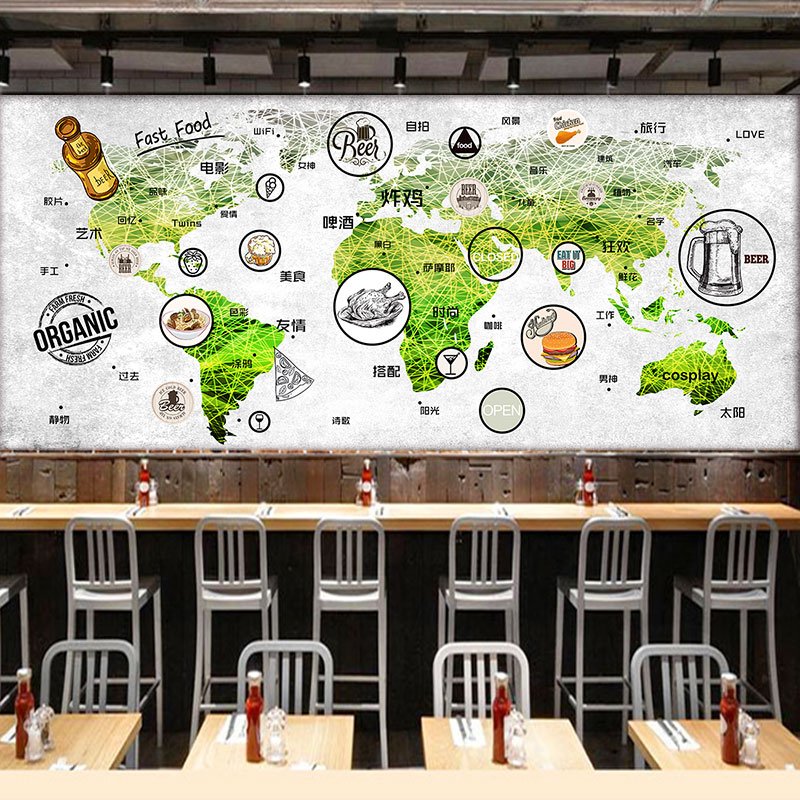 custom wall mural world map mural restaurant tea house coffee shop dining room snack shop background food mark wallpaper mural 1pc 32cm world globe map ornaments with swivel stand home office office shop desk decor world map geography educational tool