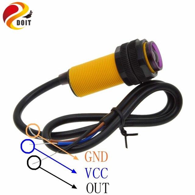DOIT R275 IR Smart car robot E18-D80NK infrared obstacle avoidance sensor proximity switch 3-80cm adjustable Hot sale