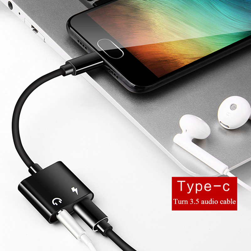 Type-c To 3.5mm Audio Adapter Cable 2 In 1 Aux Conventer Headphone Extension Cable Charging Calling And Audio Transfer