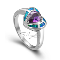 Heart sharp in Fashion Jewelry Blue Fire Opal with Purple Quartz 925 Sterling Silver women's Ring for Birthday Gift RP0003