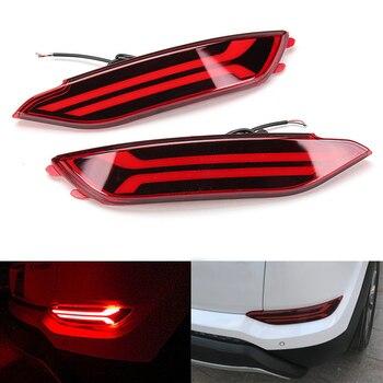 Niscarda 2x LED Rear Bumper Reflector Light Car Driving Brake Fog Trim Molding Tail Lamp For Hyundai Tucson 2015 2016