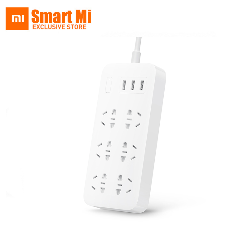 In Stock Xiaomi 6 Sockets With 3 USB Fast Charging 2.1A USB Smart Power Strip Power Plug Charger Portable US UK EU AU Adapter original xiaomi power strip smart home electronics fast charging 3 usb 2 0 interface extension socket plug with eu uk au adapter