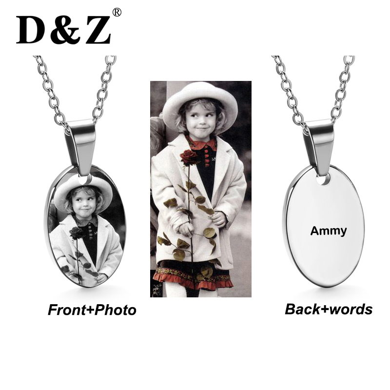D&Z Trendy Personalized Photo Pendant Gold Chain Stainless Steel Engraved Name Pendants Necklaces Jewelry Mother Baby Gifts
