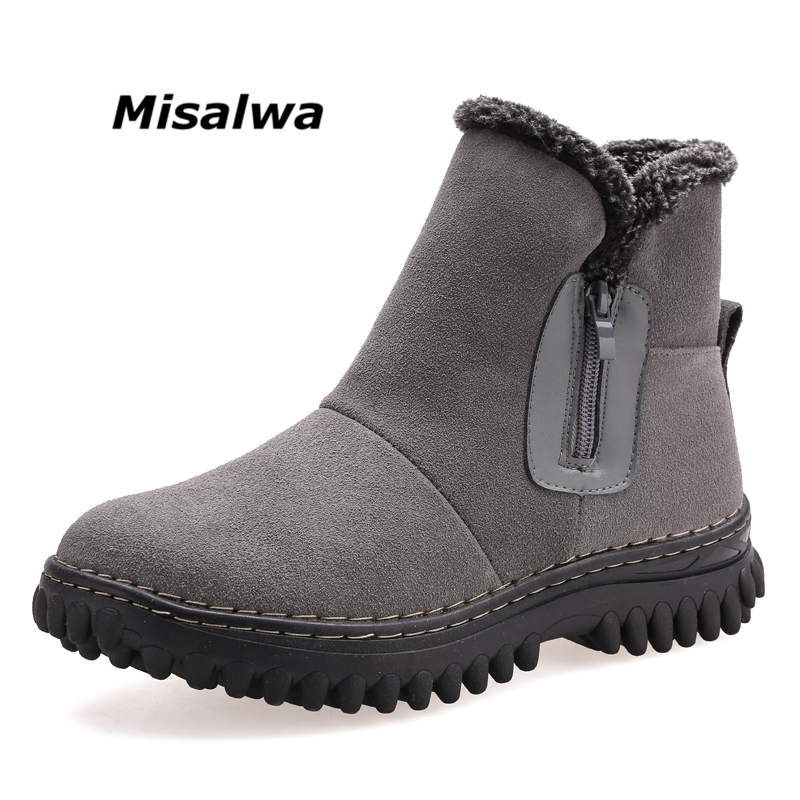 где купить Misalwa Men's Black Grey Suede Leather Boots Slip-on Zipper Woollen Plush Warm Winter Snow Ankle Elastic Short Boots Shoes по лучшей цене