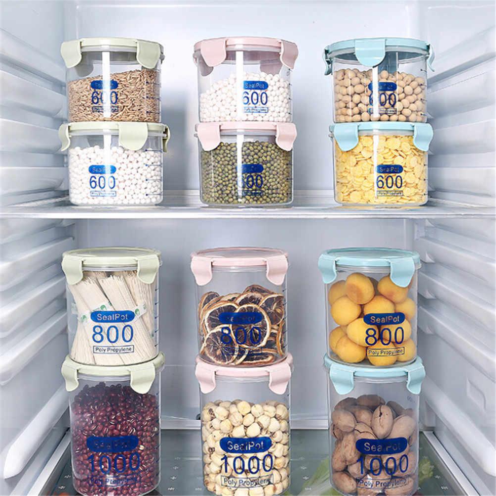 Cozinha Caixa De Armazenamento De Vedação Conservação de Alimentos Recipiente Pote de Doce de Plástico Transparente Selado Conjunto Mais Nítidas Plástico