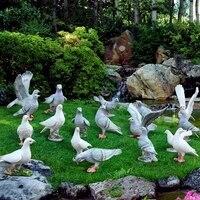11pcs/lot Rustic artificial animal sculpture resin Pigeons craft decoration outdoor courtyard props garden decor home craft
