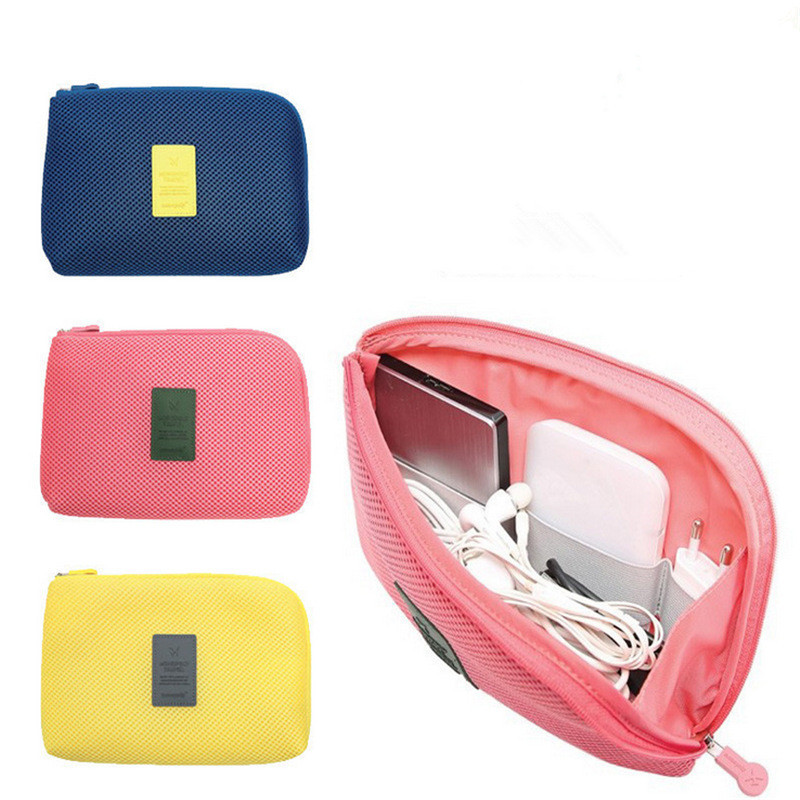 Fashion Shockproof Travel Digital USB Charger Cable Earphone Case Creative Makeup Cosmetic Organizer Accessories Bag