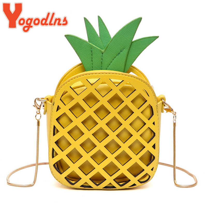 Yogodlns 2019 New Cute Handbag For Women Lovely Pineapple Bag PU Leather Chain Hollow Out Girls Women shoulder Bag Mini PurseYogodlns 2019 New Cute Handbag For Women Lovely Pineapple Bag PU Leather Chain Hollow Out Girls Women shoulder Bag Mini Purse