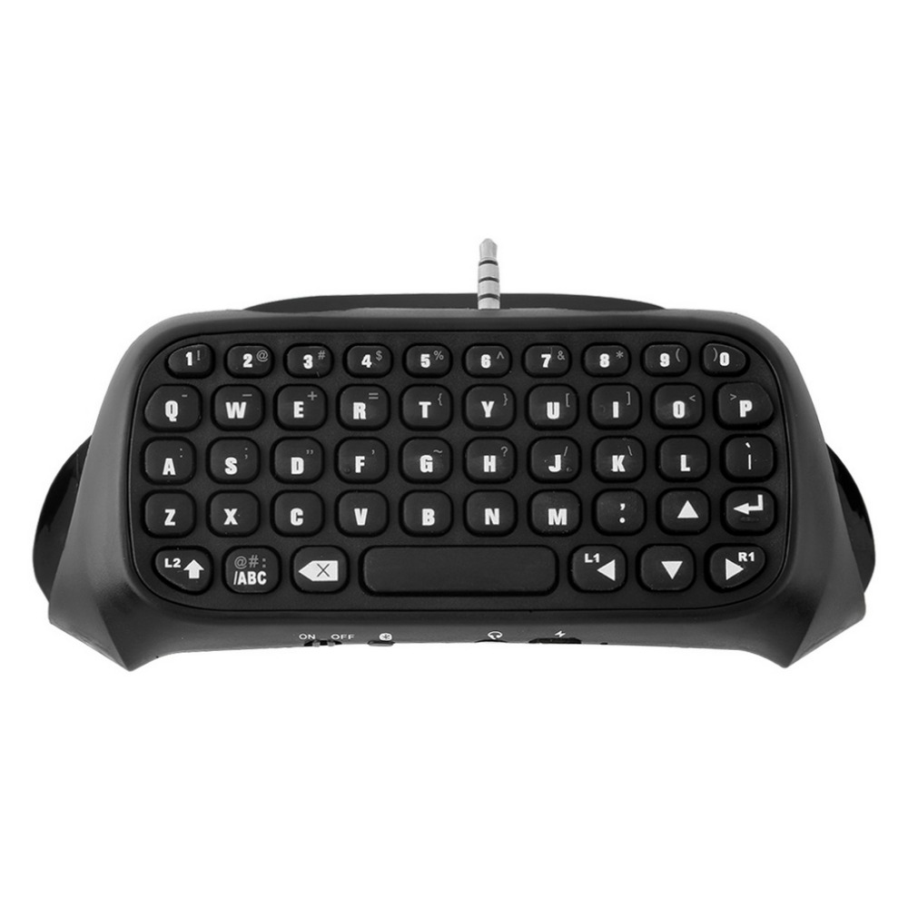 3.5mm Plug Bluetooth Mini Wireless Chatpad Message Keyboard for Sony for Playstation 4 for PS4 Controller Black Drop Shipping 1pcs black wireless game gaming bluetooth chatpad message keyboard for sony for playstation 4 for ps4 controller with usb cable