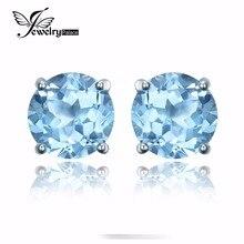 JewelryPalace 2ct Ronda Cielo Azul Natural del Topaz Birthstone Stud Pendientes Genuino 925 Plata Esterlina 2016 Joyería Fina Para Las Mujeres