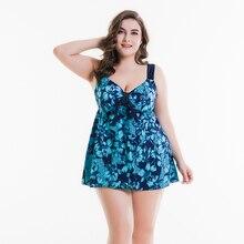 Брендовый летний купальник супер размера плюс с юбкой, слитный купальник с большой грудью для девушек, 2 предмета, пляжная одежда для больших мам, купальный костюм 58-66