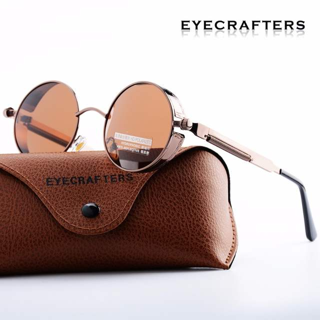 03b686fb48 Gold Round Polarized Sunglasses Gothic Steampunk Sunglasses Mens Womens  Fashion Retro Vintage Shield Glasses Eyewear Blue