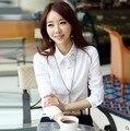 Nuevo 2013 otoño verano más el tamaño rhinestones de la camisa ropa blusa básica camisa blanca de manga larga camisa de la blusa para mujer