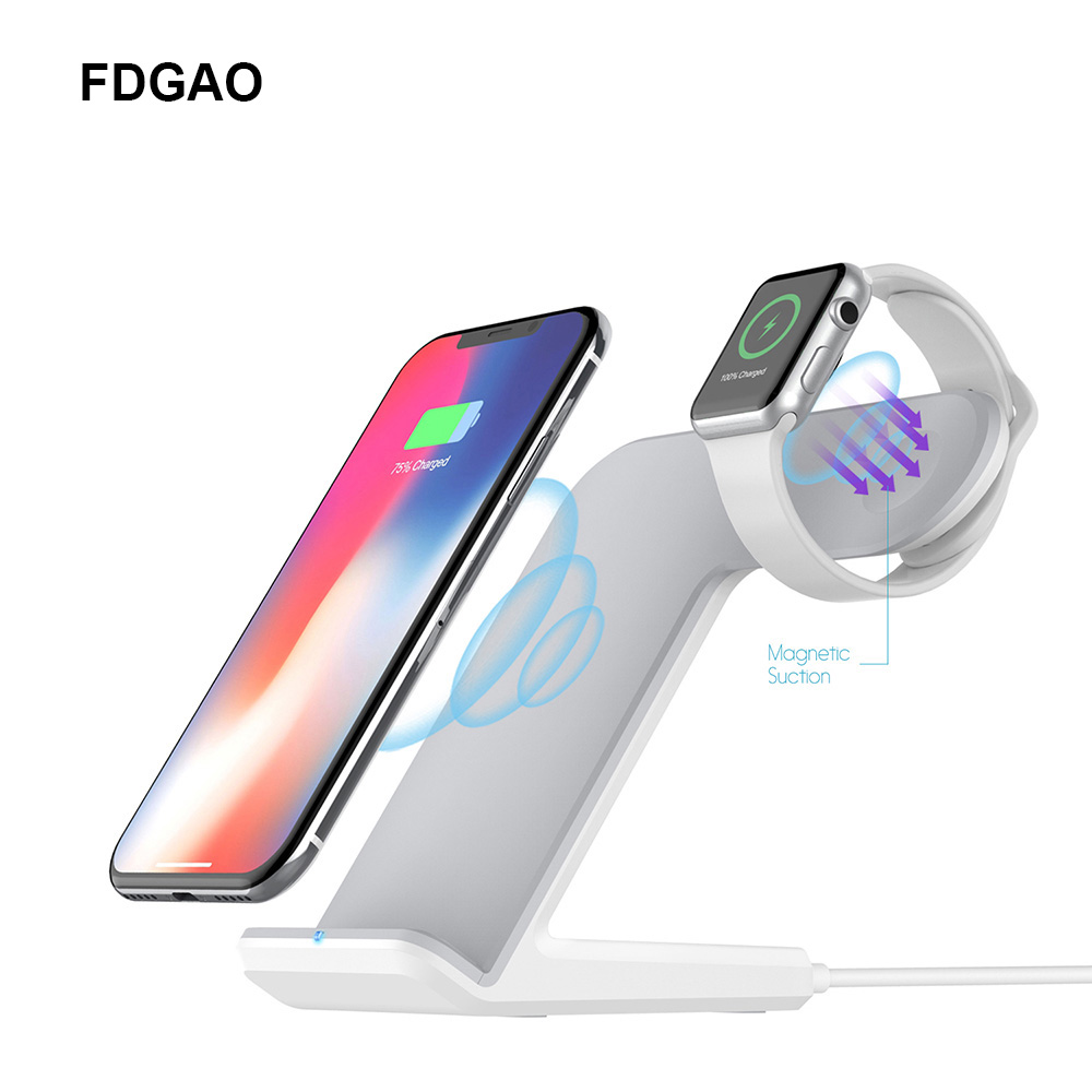FDGAO 2 in 1 Fast Charging Stand Wireless Charger For Apple Watch Series iPhone XS Max X XR 8 QI Wireless Dock Station Holder