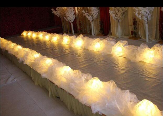 Wedding table yarn wedding stage T stage yarn decoration road guide yarn T stage road guide yarn curtain wedding props in Party DIY Decorations from Home Garden