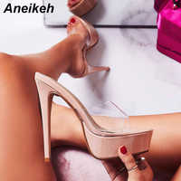 Aneikeh 2019 New Summer Fashion PVC Women Slippers Platform Round Toed Shoes Slides Outside Thin Heels Black Apricot Size 34-40
