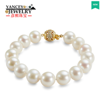 YANCEY New natural 11 12mm white shaped bright light freshwater big pearl bracelet, with S925 Silver Gold plated clasp bracelet