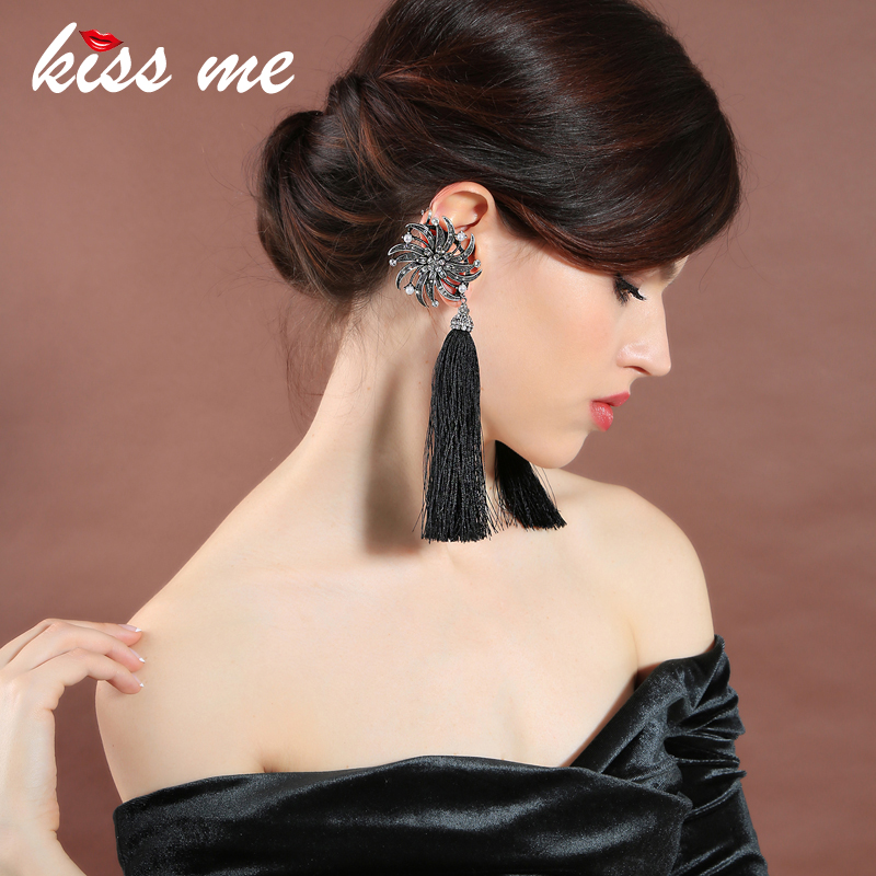 все цены на KISS ME Asymmetric Tassel Earrings Black / Blue Cotton Thread Fringe Crystal Flower Long Earrings Women Jewelry