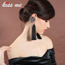 KISS ME Asymmetric Tassel Earrings Black / Blue Cotton Thread Fringe Crystal Flower Long Earrings Women Jewelry