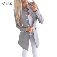 OEAK Women's Spring Autumn Long Sleeve Casual Blazer Femme Lapel Office Blazer Solid Slim Fit  Casual Long Top Female Coat