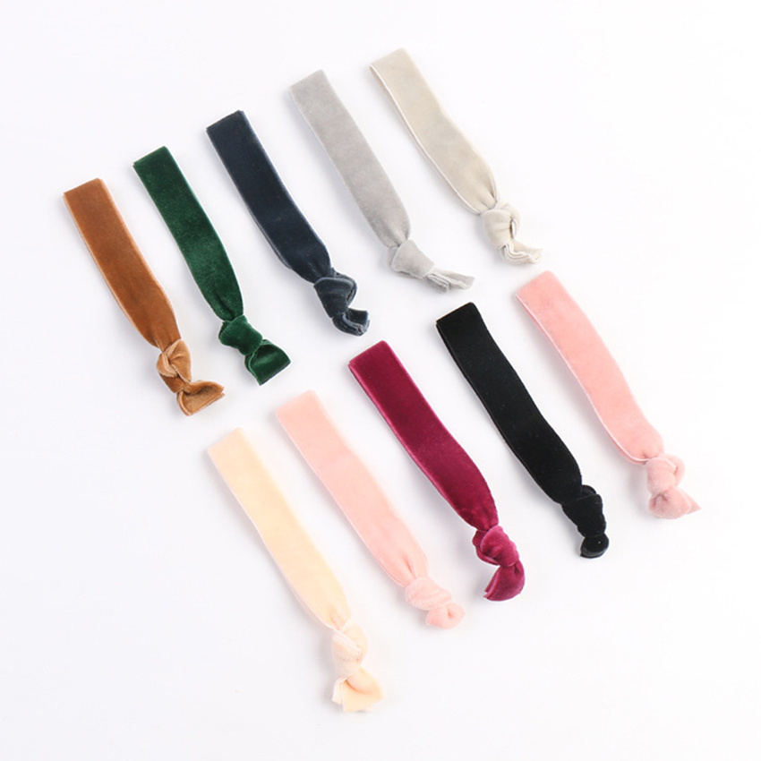Hot Sale 30pcs Stretchy Velvet Elastic Hair Band 22 Colors Girl Ponytail Holder Hair Tie Bracelet 10mm 10Y Velvet Elastic Ribbon