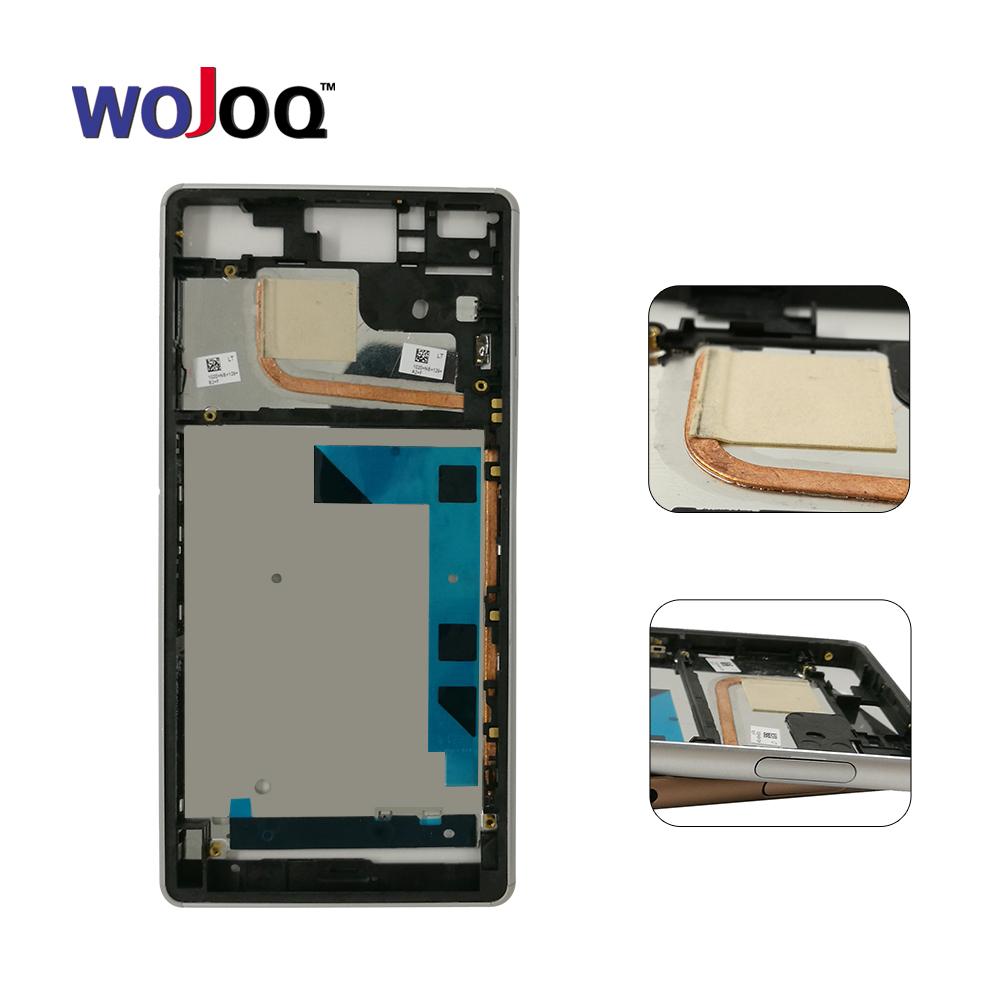 WOJOQ 100% Original Middle Frame Bezel Housing Cover Case Side Buttons For Sony Z3 L55 L55w D6603 D6653 Replacement Part