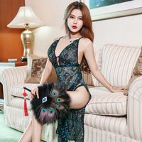 Sexy Lingerie Women Set Lace Peacock Feathers Embroidery Cheongsam Erotic Lingerie Sexy Backless Sexi Lingerie Dress