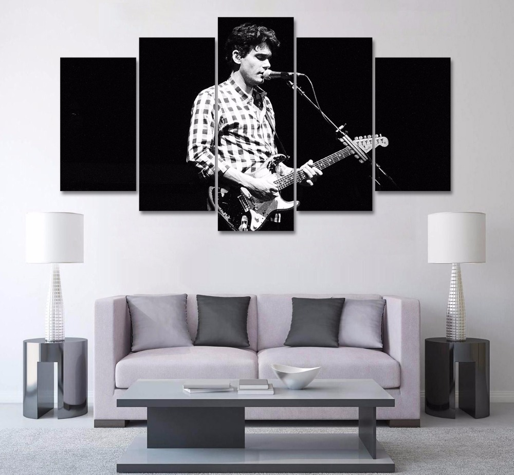 Hd Print 5pcs White Black John Mayer Poster Painting Modern Home Decor Canvas Wall Art Picture For Children Kids Pt1729 In Calligraphy From