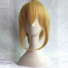 35cm Fate stay night saber lily Cosplay Full Wig Golden Synthetic Hair Wigs With Ponytail+hairnet